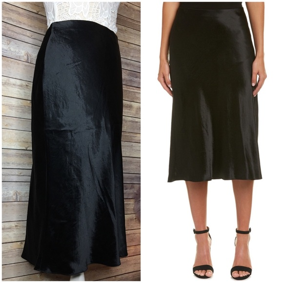 ef3c9b67ad Vince Skirts | Nwt Satin Flare Black Midi Skirt Xs | Poshmark
